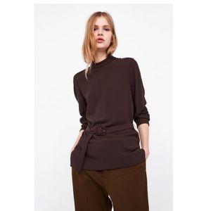 Zara Brown Belted Long Sleeve Top